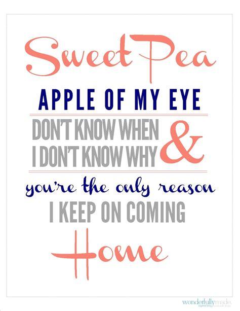 different colors lyrics printable sweet pea lyrics print four different color