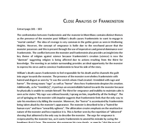 analysis of frankenstein novel analysis of frankenstein extract pages 101 103 a level