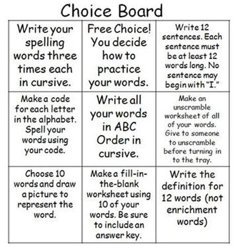 choice boards differentiated learning