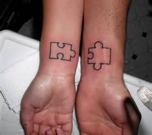 puzzle outline couple tattoos on wrist tattoobite com