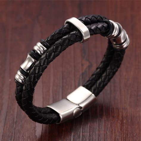 Braided Layered Bracelet black layer braided leather bracelet stainless