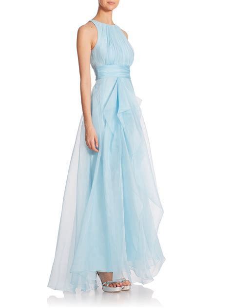 Organza Silk lyst badgley mischka silk organza gown in blue