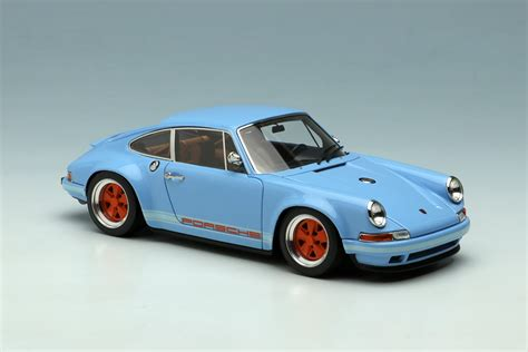 gulf porsche 911 gulf blue porsche singer 911 by make up co ltd 1 43