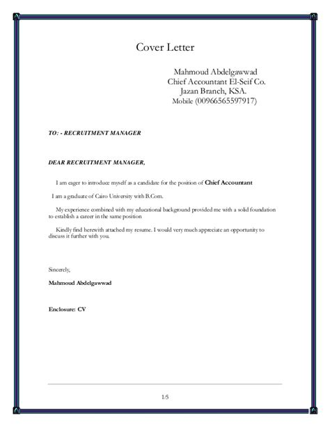 Chief Accountant Cover Letter by Chief Accountant
