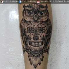 tattoo owl mexican sugarskulls horen zien en zwijgen tattoo pinterest