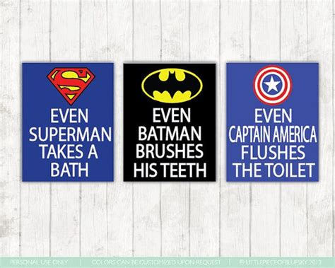 superhero bathroom signs superhero bathroom art prints set of 3 8x10 or 11x14 s