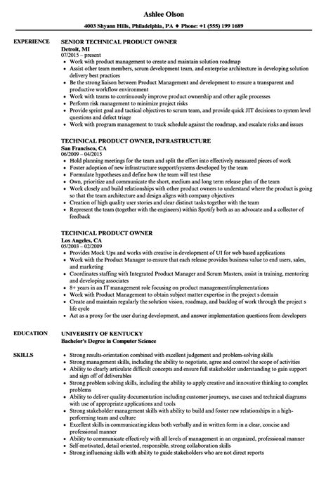 technical product owner resume sles velvet
