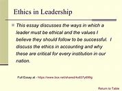 Image result for ethical leadership in business essay