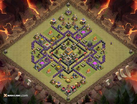 layout coc war base anti naga kumpulan war base th 7 clash of clans terkuat anti gowipe