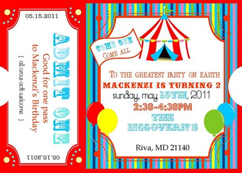 ticket invite template free 7 best images of free carnival printable birthday