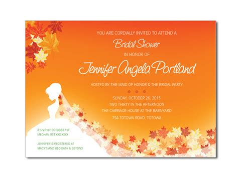 free fall themed bridal shower invitations fall shower invitations on luulla