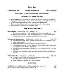 resume objective for general labor sles of resumes