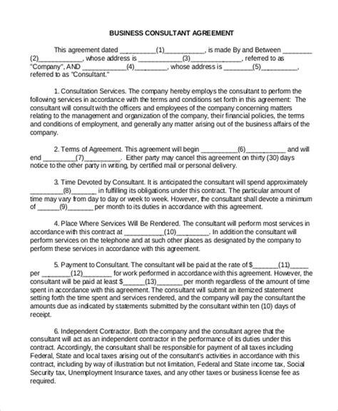 business consultant agreement template sle consulting agreement form 9 free documents in