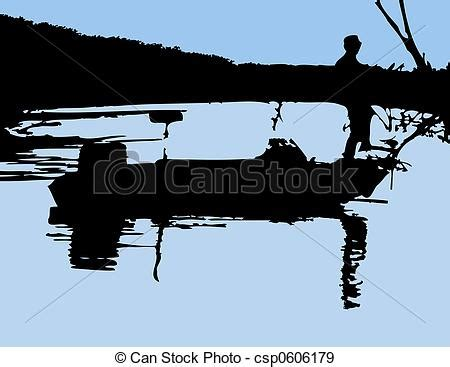 bow of his boat lone fisherman on the bow of his boat done in silhouette