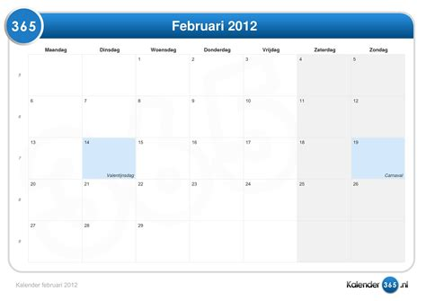 Calendrier F2vrier 2018 Kalender Februari 2012