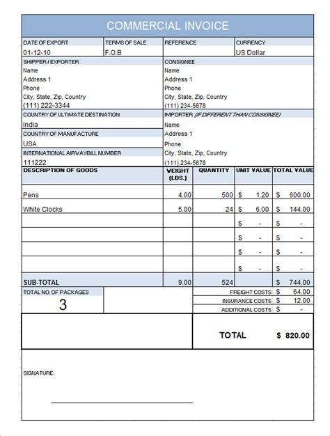 commercial invoice template pdf 10 commercial invoice templates free documents