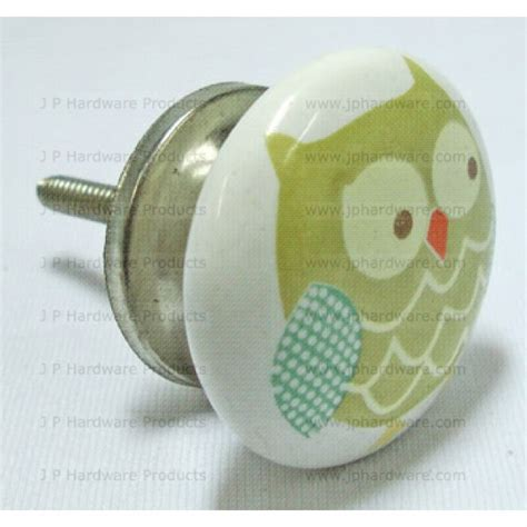 green owl ceramic knob porcelain cupboard door knobs handles