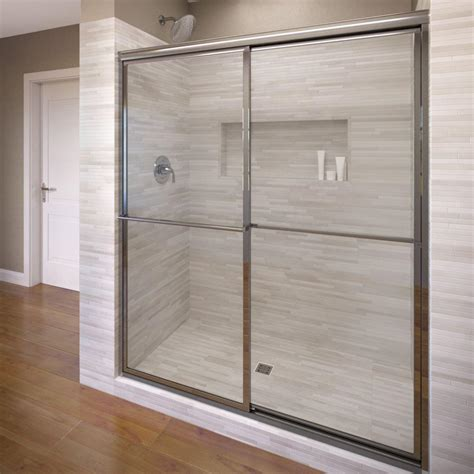 Frame Shower Doors Basco Classic 44 In X 65 1 2 In Semi Framed Sliding Shower Door In Silver 3500 44scl The