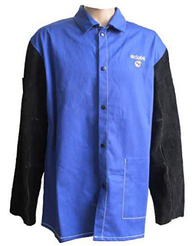 arch labs arclabs black cowhide leather sleeved blue fr jacket