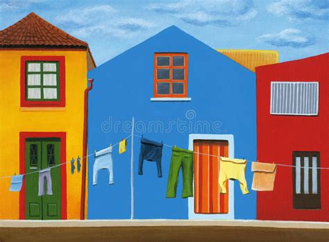 colorfu houses painting colorful houses with clothes line in portugal stock