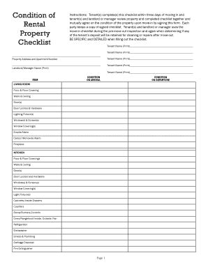 condition of rental property checklist template tenant damage checklist fill printable fillable