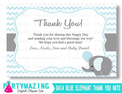 thank you card template baby shower tags elephant thank you cards printable baby blue boy elephant