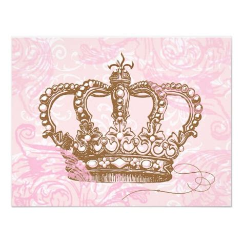 Where Can I Buy A Pink Gift Card - pink princess crown invitations 4 25 quot x 5 5 quot invitation card zazzle