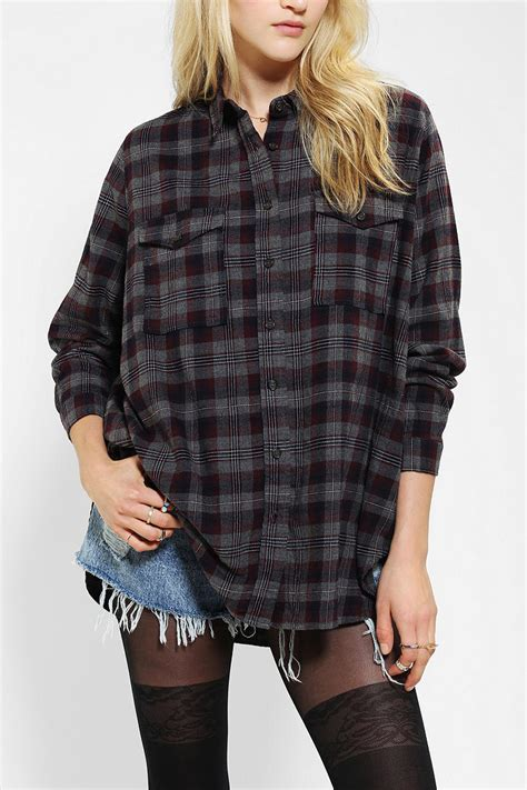 silence noise oversized flannel shirt from outfitters