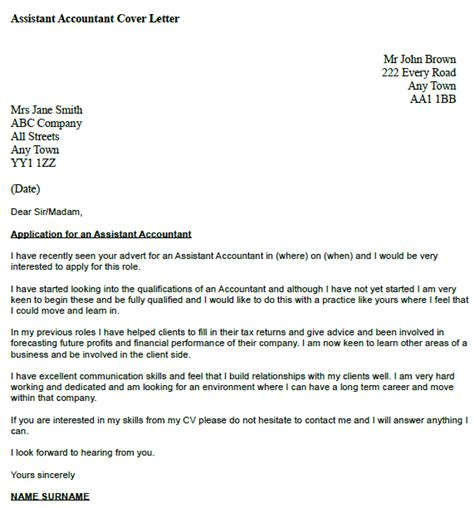 Cover Letter For Accounts Assistant sle cover letter sle cover letter accounting assistant