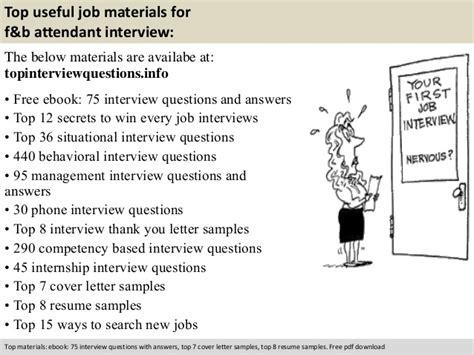 Resume F B Attendant by F B Attendant Questions