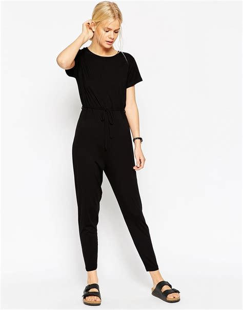T Jumpsuit Combi lyst asos t shirt drawstring jumpsuit in black