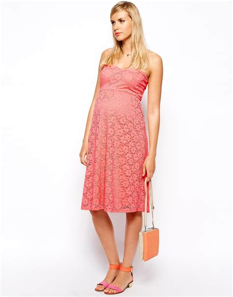 Lace Midi Dress Bysi asos bandeau midi dress in lace in pink lyst