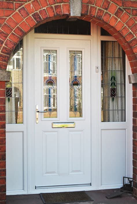 Upvc Front Doors With Side Panels Stunning White Altmore Composite Door And Windows With Upvc Side Panels And Rectangular Lead And