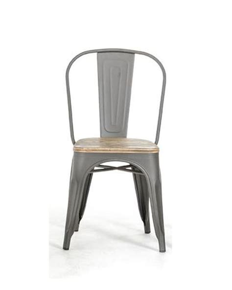 Metal And Wood Dining Chairs Modern Grey Dining Chair In Metal And Wood 44d5816 4 Set Of 4