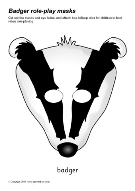 printable badger mask woodland wildlife primary teaching resources printables