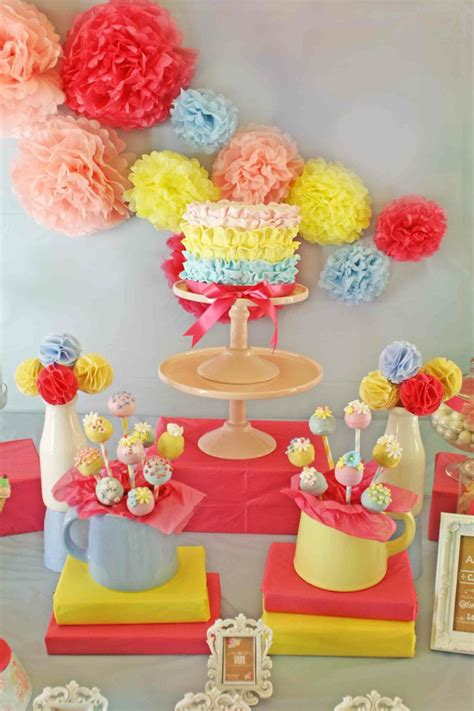 Pink And Yellow Birthday Decorations by Ruffle Cake Pink Blue Yellow Birthday