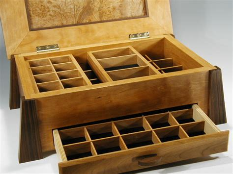 handcrafted wood box and contemporary jewelry box in one