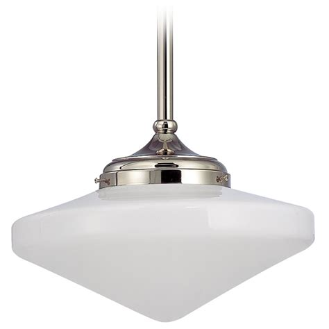 Schoolhouse Lighting Pendant 14 Inch Schoolhouse Pendant Light In Polished Nickel Fa6 15 Ge14 Destination Lighting