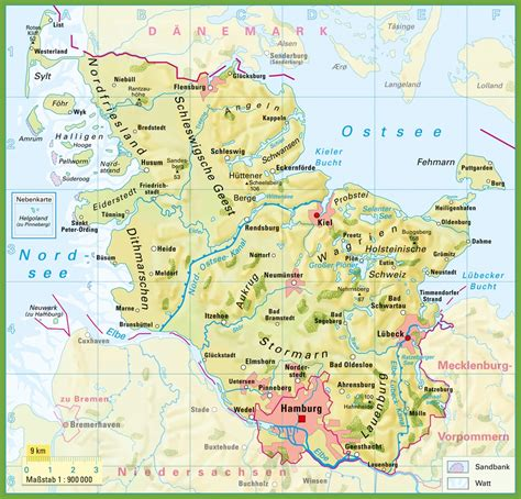 germany geographical map schleswig holstein physical map