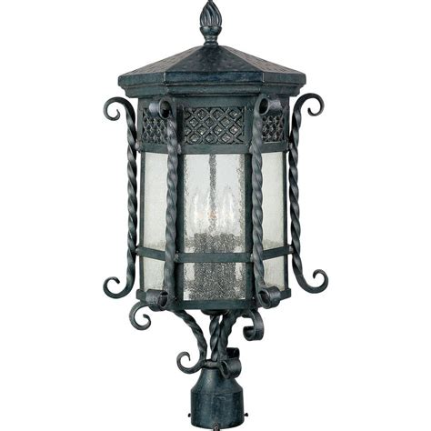Outdoor Pole Lighting Maxim Lighting Scottsdale 3 Light Country Forge Outdoor Pole Post Mount 30120cdcf The Home Depot