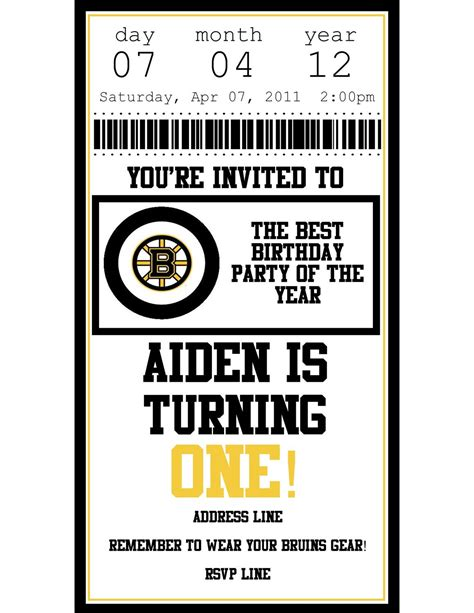 printable birthday invitations hockey theme personalized printable boston bruins hockey ticket