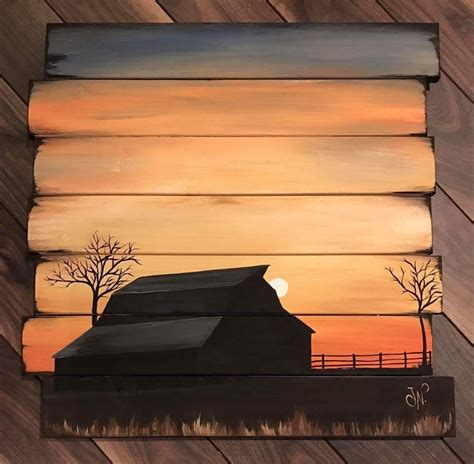 acrylic paint on wood crafts painting of a barn and sunset on reclaimed wood so cool