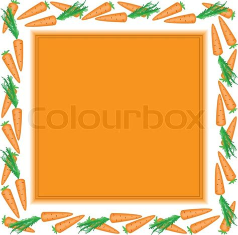 Orange square frame made of carrots with white edges