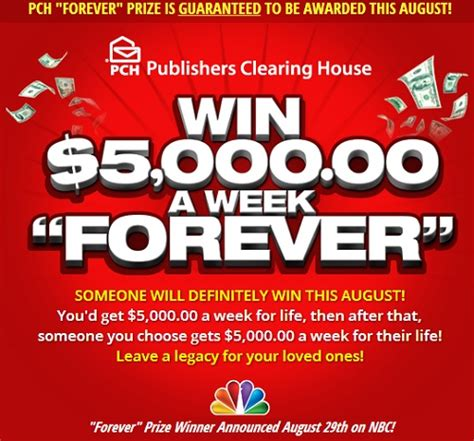 Pch 5000 A Week For Life Entry - publishers clearing house 5000 a week for life
