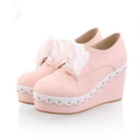 shoes kawaii harajuku pink lace frill bow