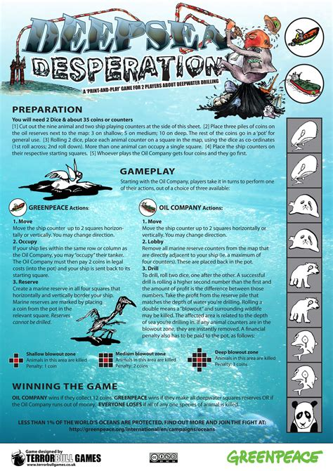 printable board games with instructions deepsea desperation an educational print and play game