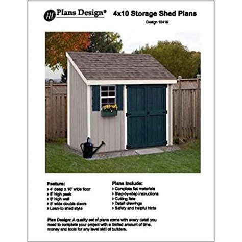 6x10 Lean To Shed 4 X 10 Lean To Storage Shed Project Plans Design 10410