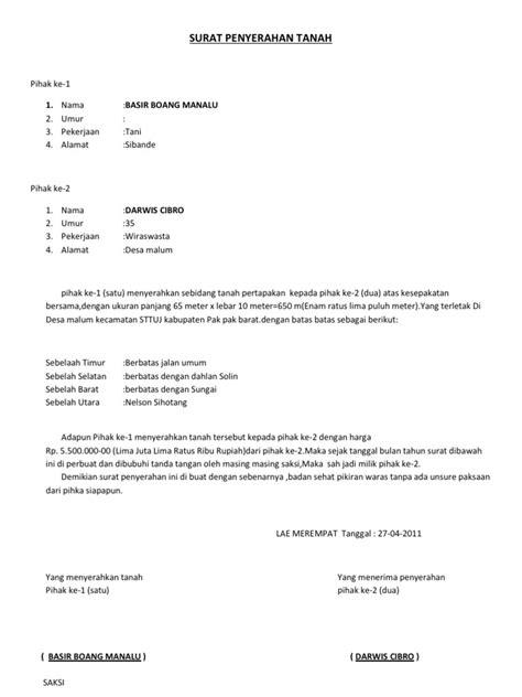 Contoh Surat Pernyataan Penyerahan Tanah Warisan