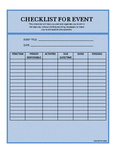 free checklist template checklist template by formsword