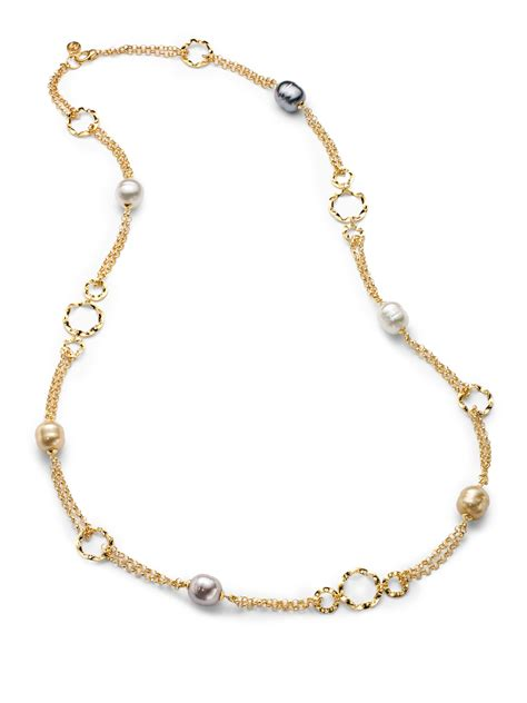 The Baroque Frame Necklace Versailles On A Chain by Majorica 14mm Multicolored Baroque Pearl 18k Gold Vermeil